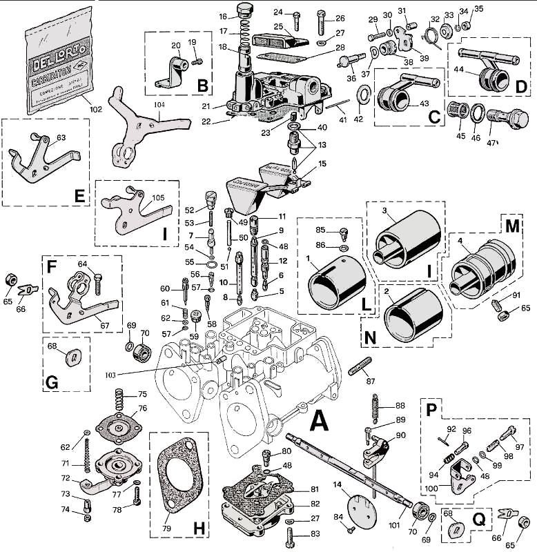 DELLORTO 40 DHLA parts diagram