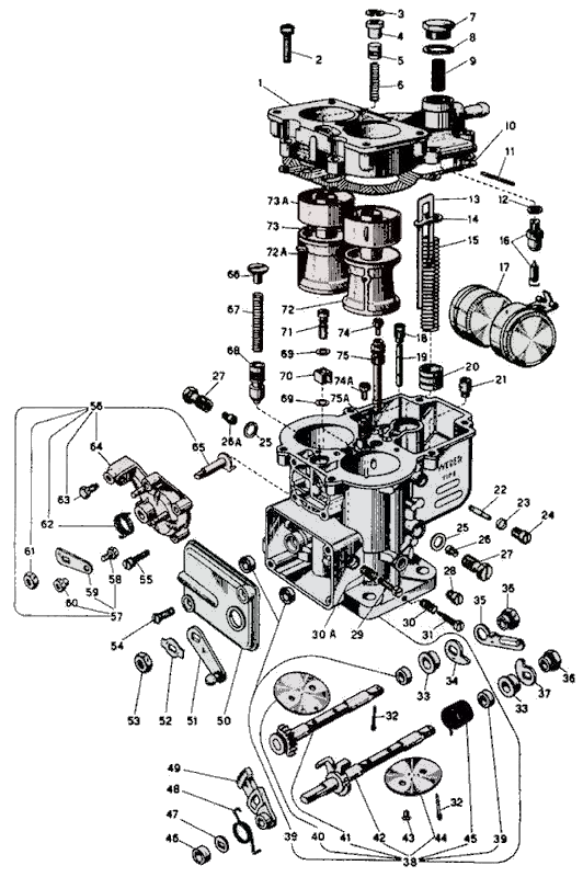 WEBER 36 DCD parts diagram